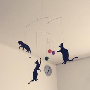 猫 モビール ブラウン 壁掛け時計