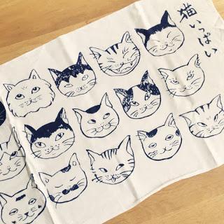 猫いっぱい 手ぬぐい